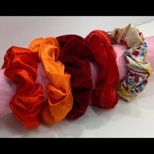 Scrunchies set of 5 shades of red/orange